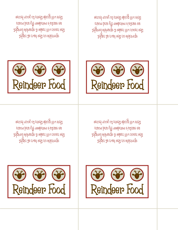 picture relating to Printable Reindeer Food Tags titled Reindeer Food items