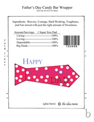 Father's Day Candy Bar Wrapper red