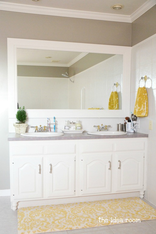 updating builder grade bathroom cabinets