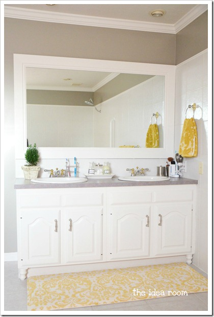 Updating builder grade bathroom cabinets the idea room for Bathroom builders