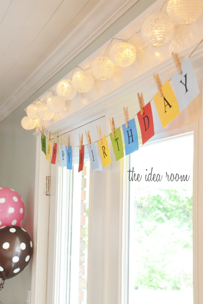 Birthday Banner with Clothespins
