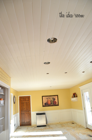 Wood planks on ceiling