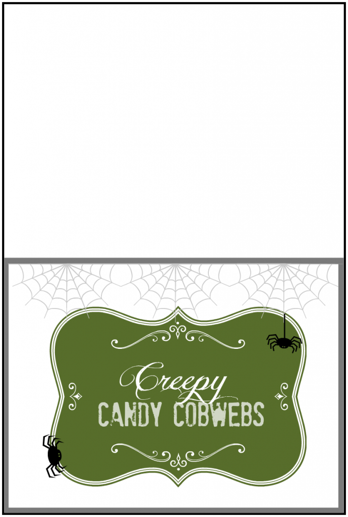 creepy candy cobwebs label