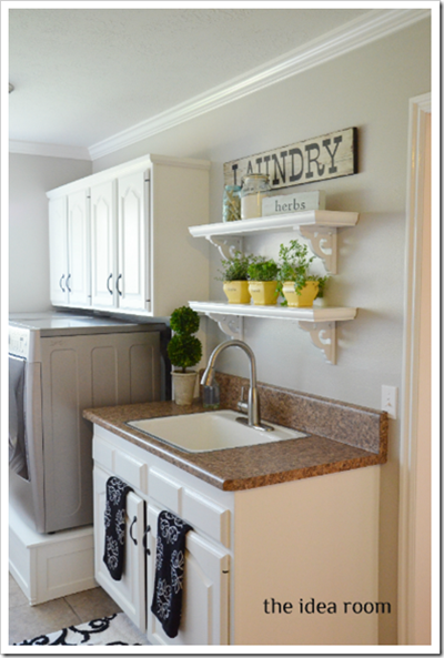laundry room painted cabinets