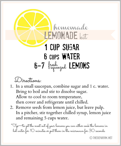 homemade lemonade recipe label
