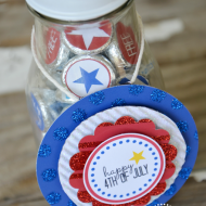 Fourth of July Treats–Kiss Stickers & Bottle Labels