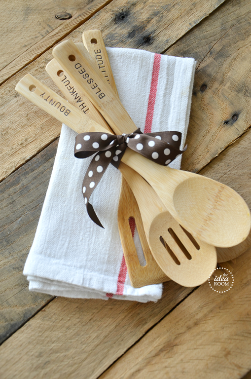 Hostess Gift | Hand Stamped Wooden Utensils