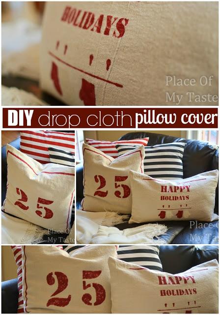 DIY drop cloth pillow case @placeofmytaste.com