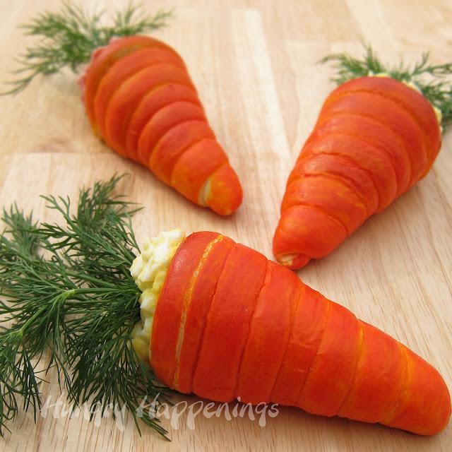 Crescent Roll Carrots, Easter recipe, recipes, cream horn forms, egg salad, ham salad, dill, Pillsbury Crescent Rolls, dough