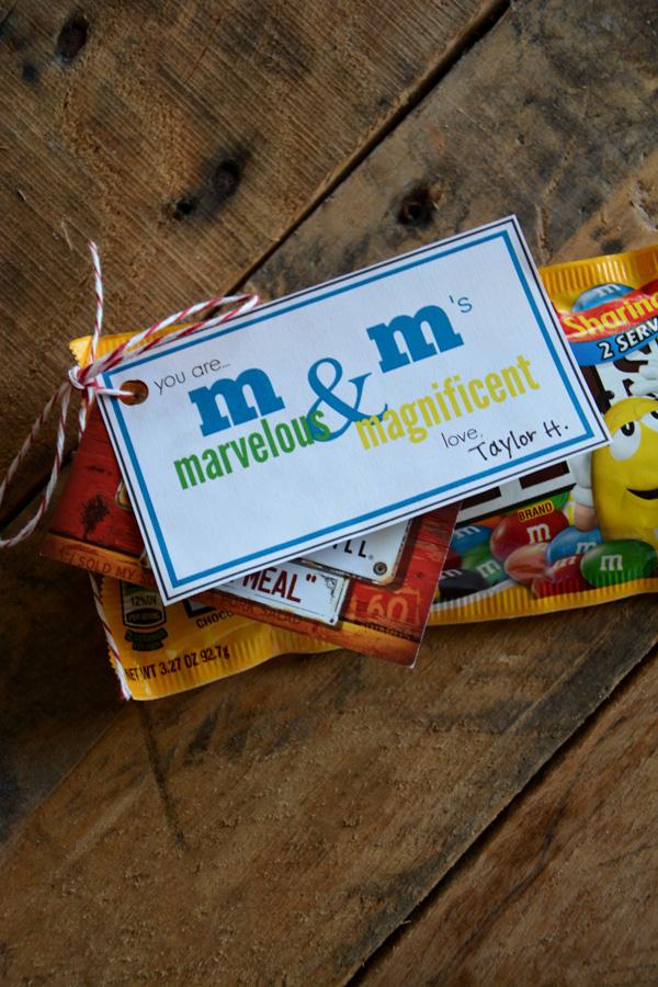m&m printable gift tag - The Idea Room