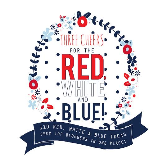 red, white and blue badge