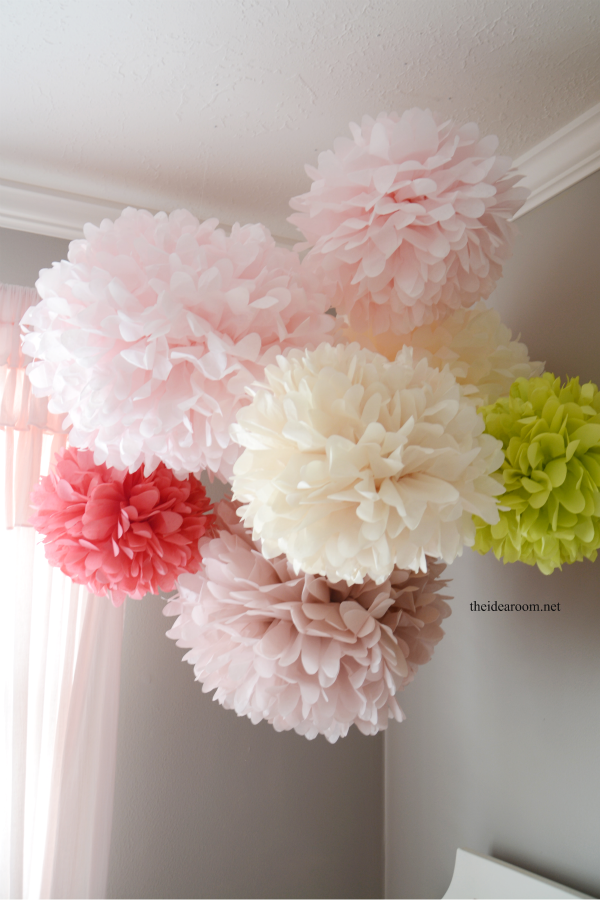 how to make flower pom poms from tissue paper