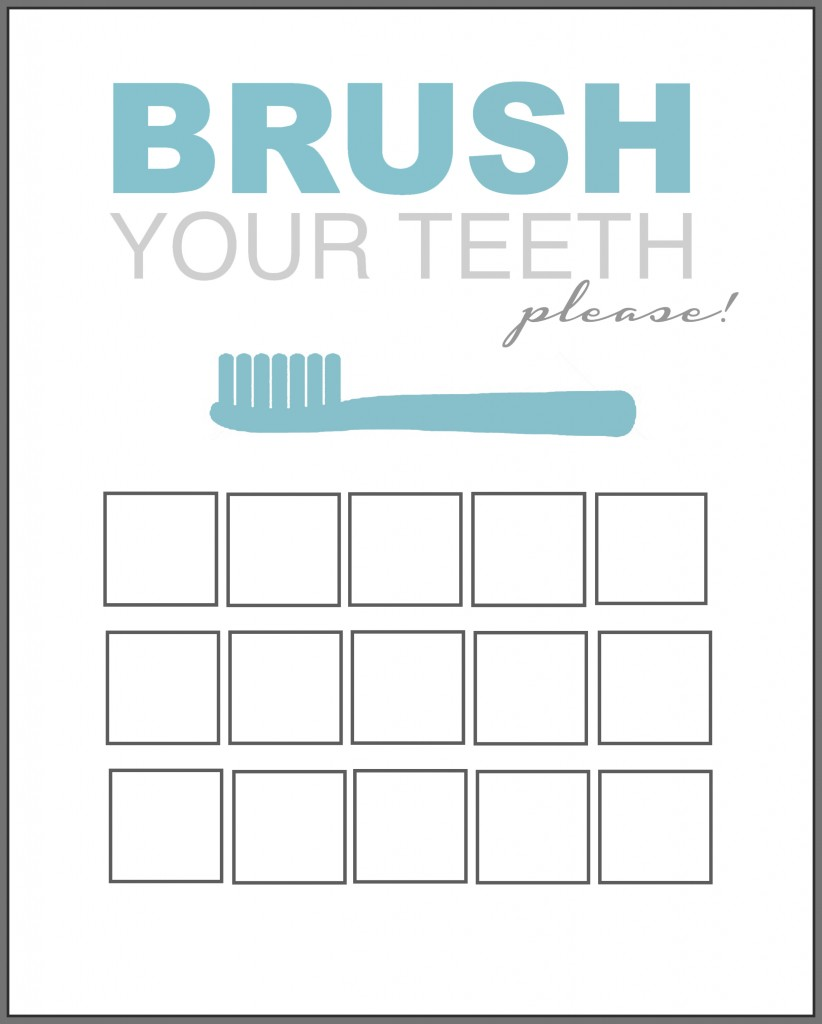 Printable Tooth Brush Chart blue