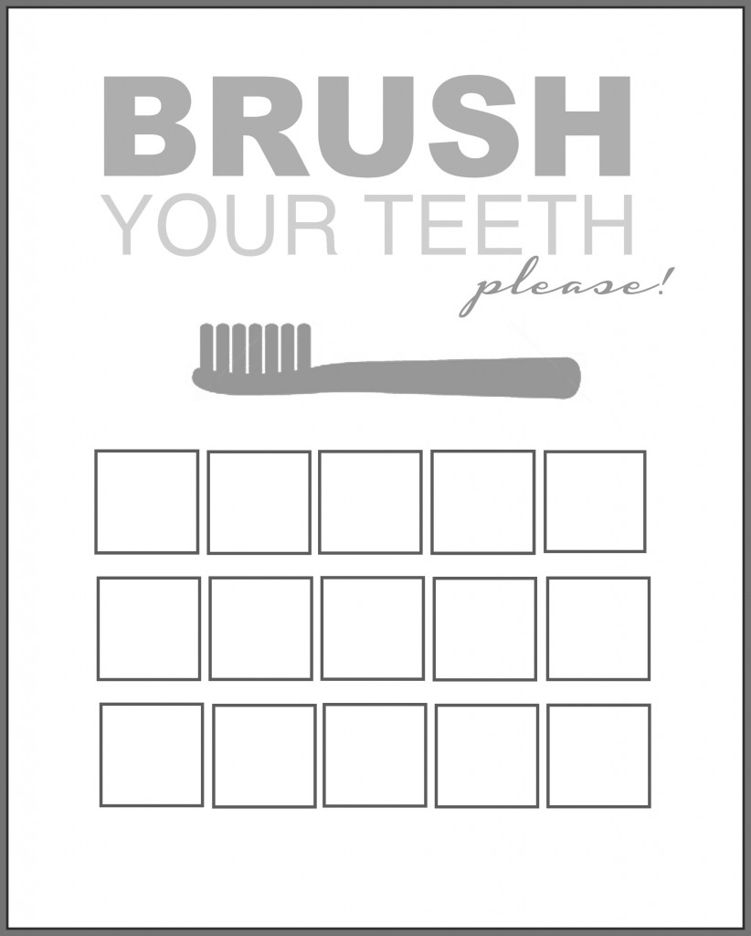 Printable Tooth Brush Chart gray