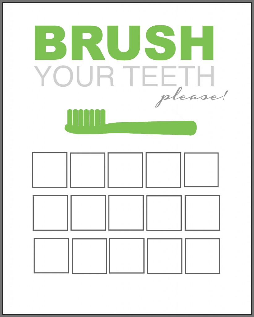 Printable Tooth Brush Chart green