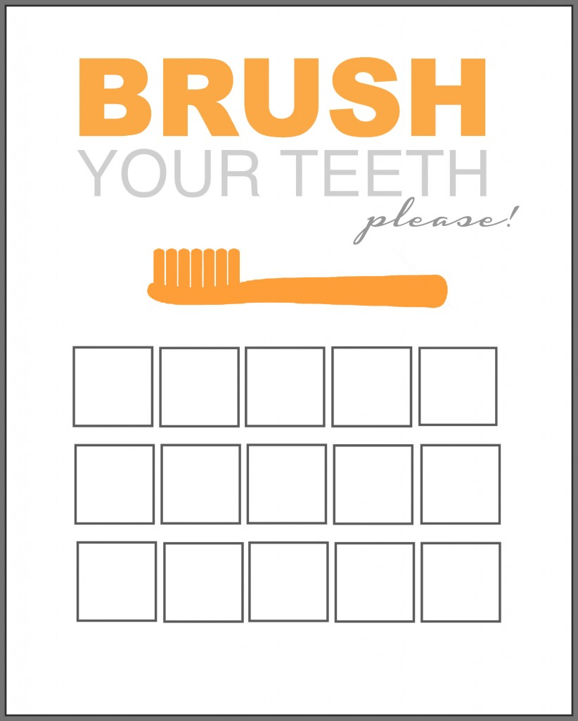 Printable Tooth Brush Chart orange