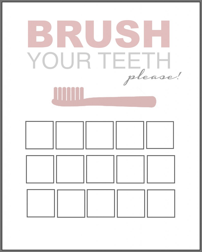 Printable Tooth Brush Chart pink