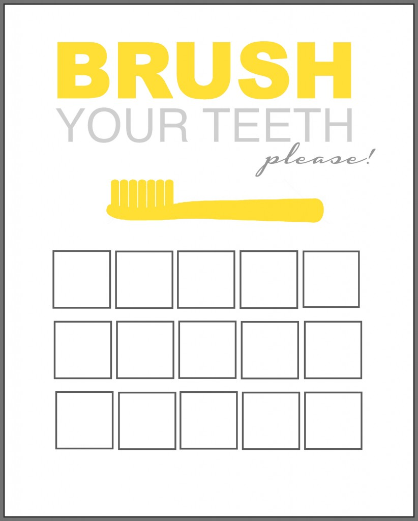 Printable Tooth Brush Chart yellow