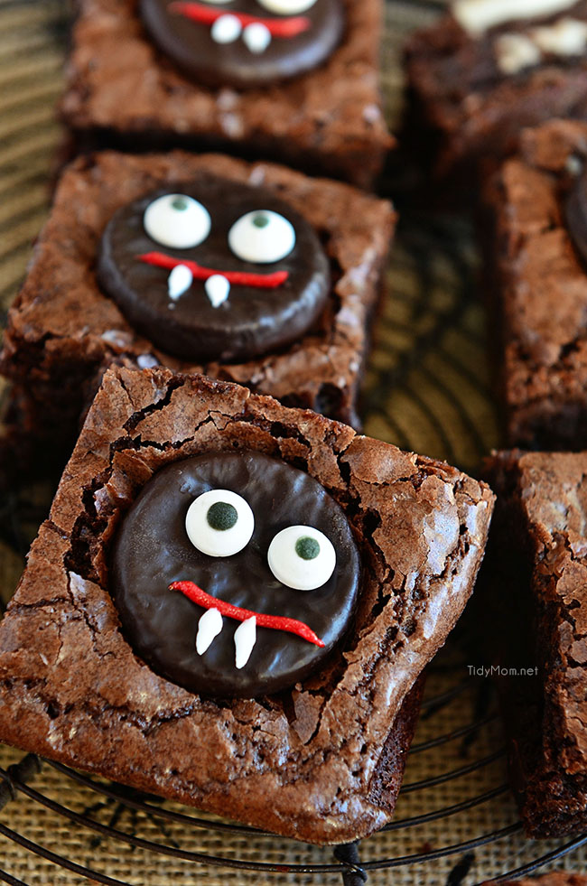 These easy mint Vampire Brownies make a fun Halloween treat!