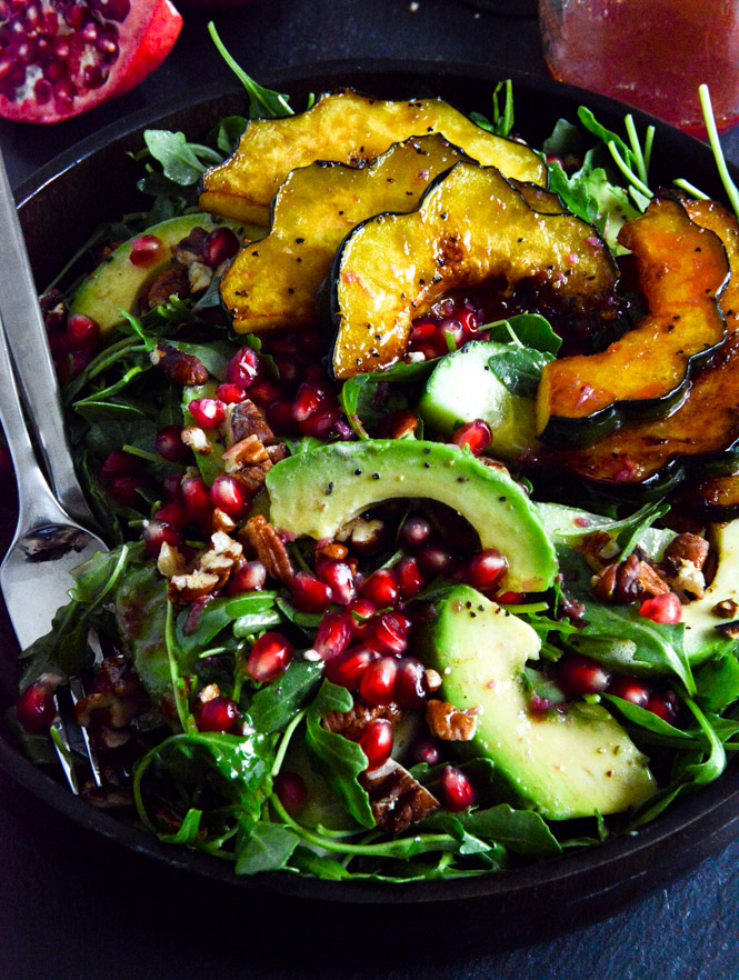 -Arugula-Salad-with-Caramelized-Squash-Spiced-Pecans-and-Pomegranate ...