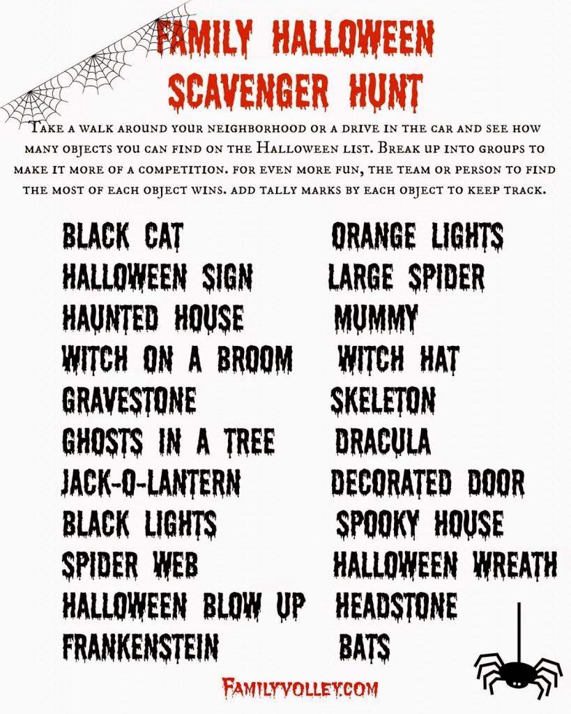 FamilyVolley.com Halloween Scavenger Hunt