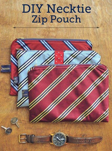 Necktie Zippered Pouch