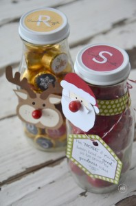Christmas Gift Bottles Tutorial   Rolo Sticker Printables    Santa and Rudolph Bottle Printables