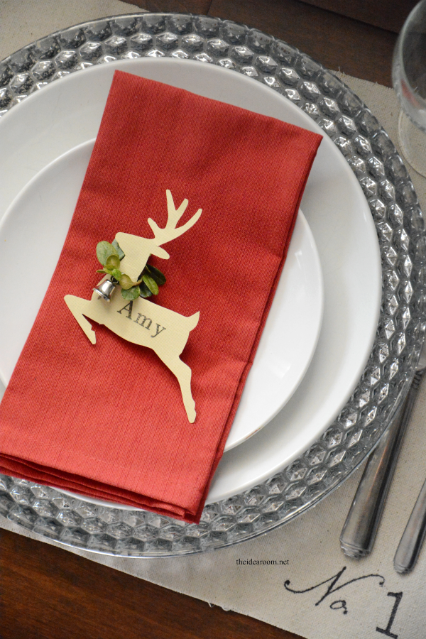 reindeer personalised place card