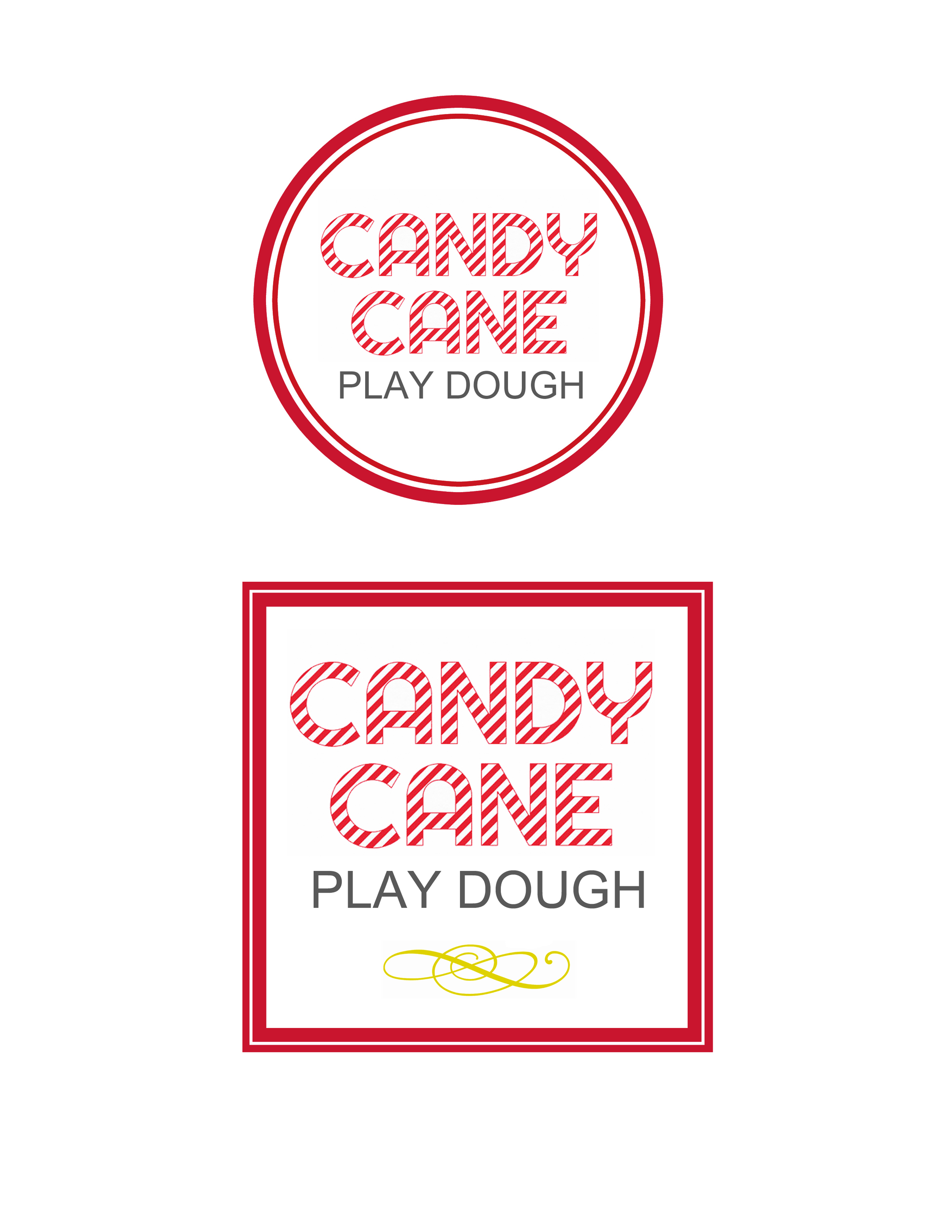 Candy Cane Play Dough Printable Labels