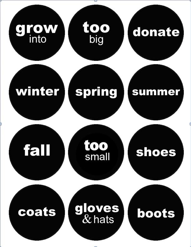 Printable Clothing Labels Seasons