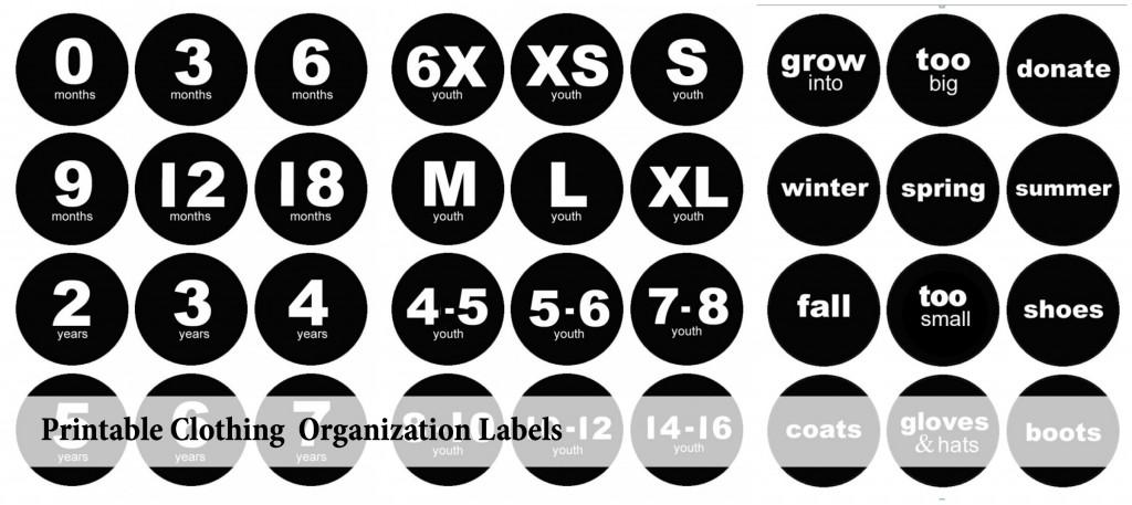 Printable Clothing Organization Labels Cover