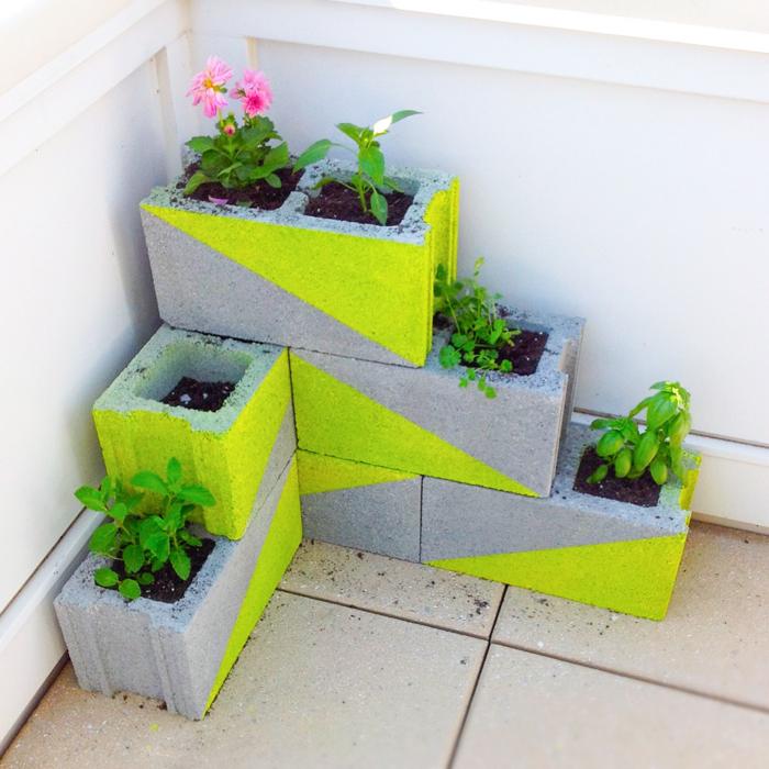 DIY Modern Neon Concrete Block Planter Via Modernly  Part 45