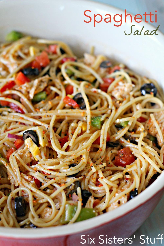 Spaghetti Salad Recipe On SixSistersStuff