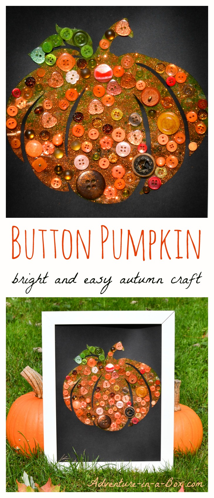 Fall crafts for adults to make - Button Pumpkin Autumn Craft For Children