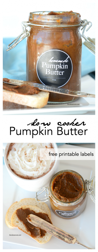 Pumpkin-Butter-Recipe Make this amazing Slow Cooker Pumpkin Butter Recipe and enjoy it on your favorite bread or toast. Free Printable Pumpkin Butter Labels. Great gift idea. theidearoom.net