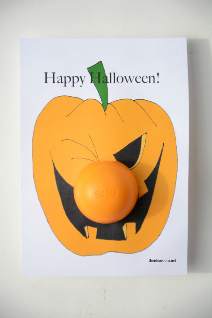Halloween-Printables-EOS Make these Printable Halloween Gifts for your family and friends. Great NON-Candy Halloween Gift Idea!