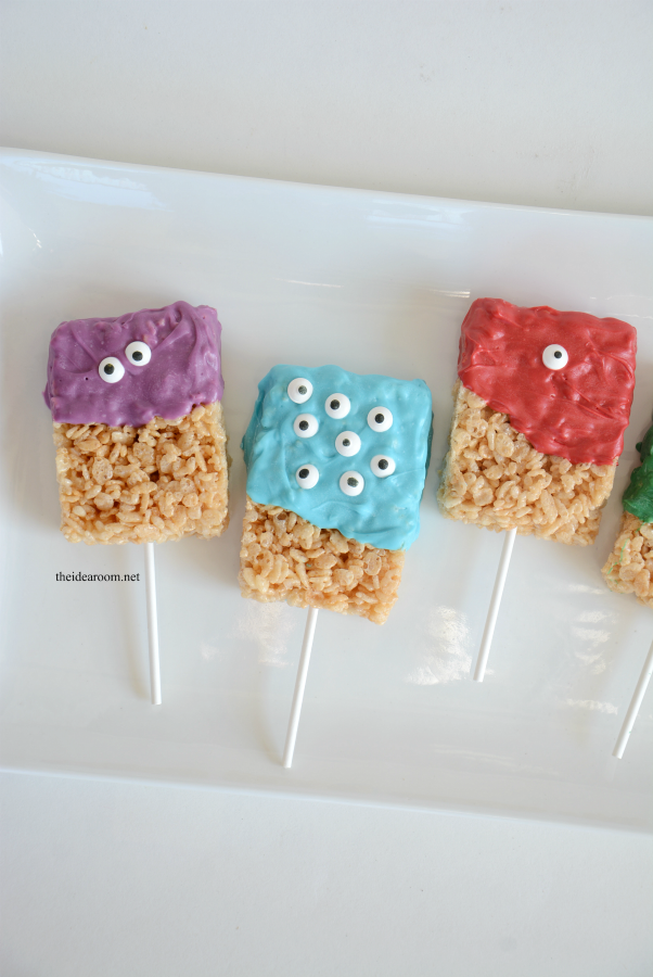 Halloween | Make some Monster Rice Krispie Treats. They make a great Halloween Treat for your Halloween Party or for a child's Birthday Party!