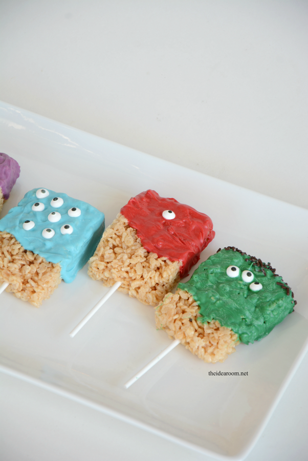 Halloween Party | Make some Monster Rice Krispie Treats. They make a great Halloween Treat for your Halloween Party or for a child's Birthday Party!