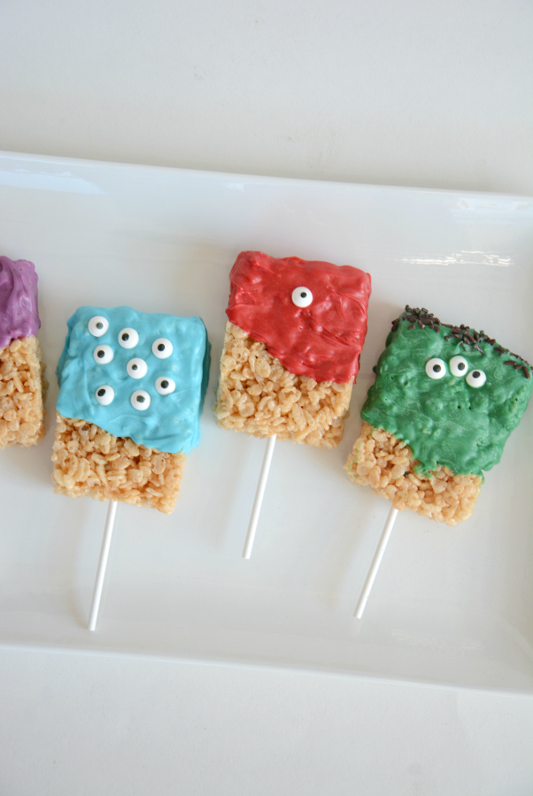 Monster Party | Make some Monster Rice Krispie Treats. They make a great Halloween Treat for your Halloween Party or for a child's Birthday Party!
