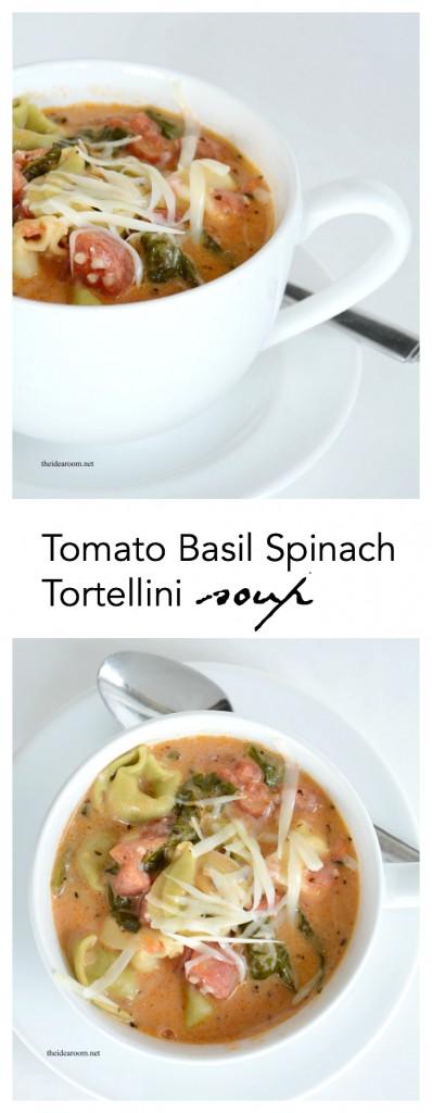 Tomato Basil Tortellini Soup Recipe pin