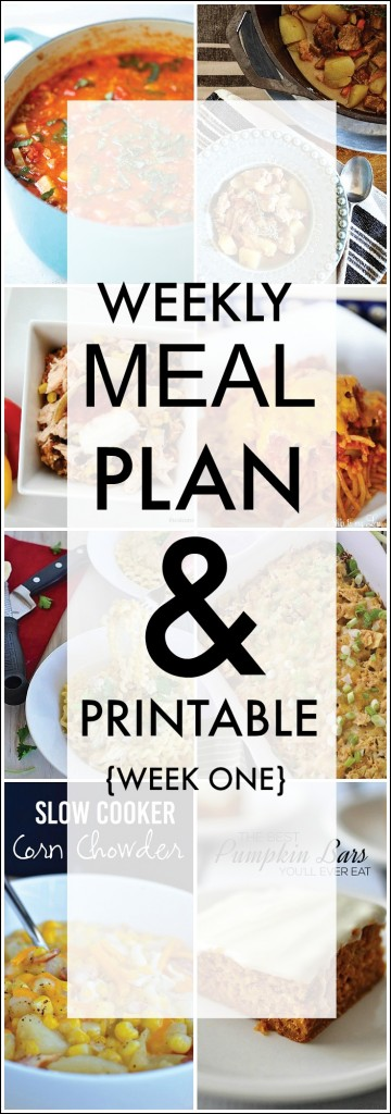 Weekly Meal Plan Week One Tired of the same old dinner recipes? Tired of always wondering what's for dinner? We have got you covered with this weekly menu plan. Free printable.