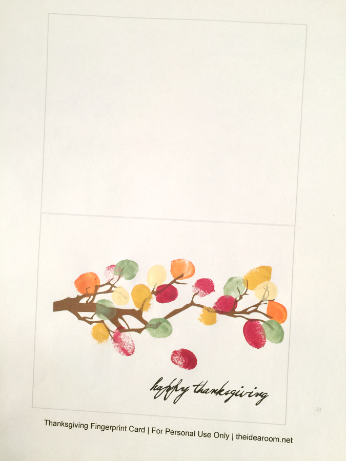 image regarding Printable Fingerprint Card identified as Do-it-yourself Thanksgiving Decor and/or Card - The Principle House