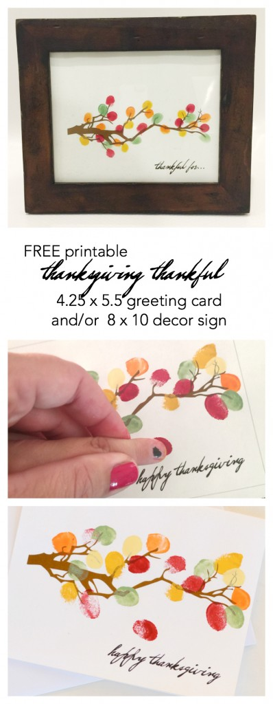 Thanksgiving | Create your own Thanksgiving Decor with this FREE Thanksgiving Printable Tree with fingerprint leaves! Print out this Thanksgiving Card to send to friends.