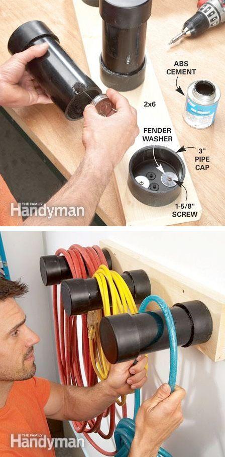 28-Brilliant-Garage-Organization-Ideas-Plastic-pipe-cord-storage-27