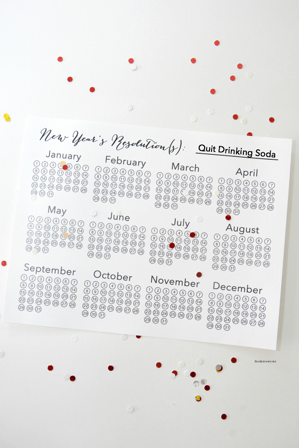 New-Years-Resolutions-Calendar quit soda