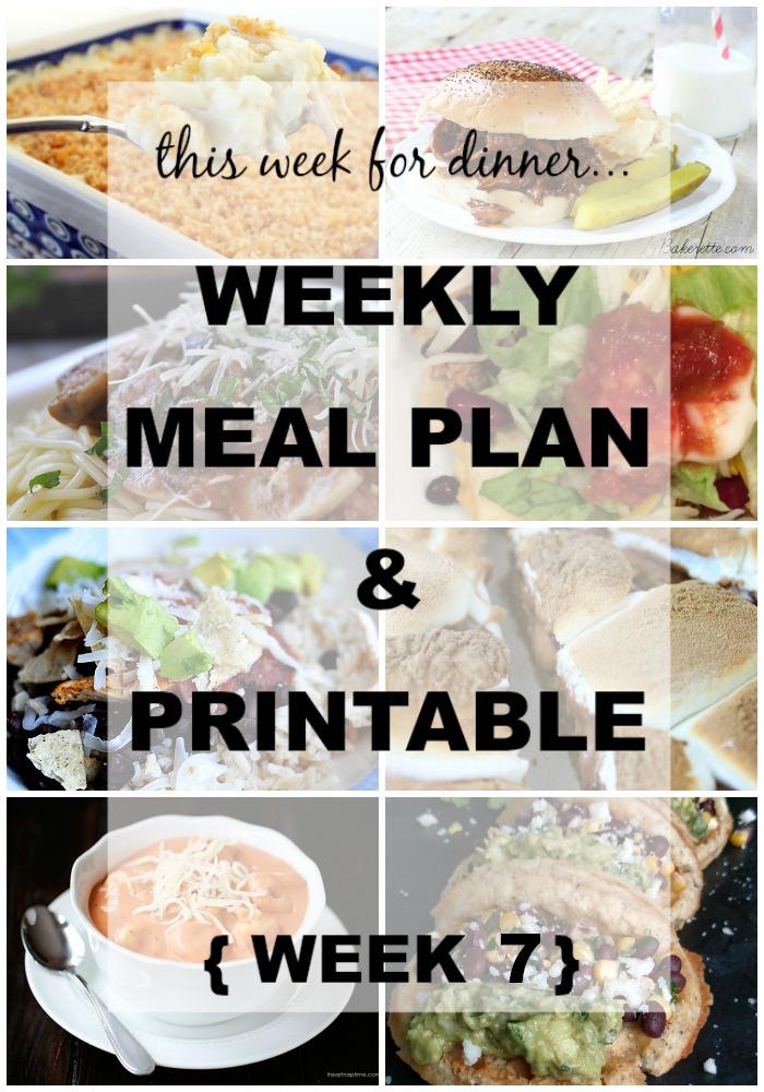 weekly meals menu