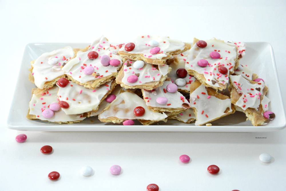 Saltine Toffee | Valentine's Day | A twist on the tasty and popular Saltine Cracker Toffee perfect for Valentine's Day. Great Valentine's Day Treat or gift idea.