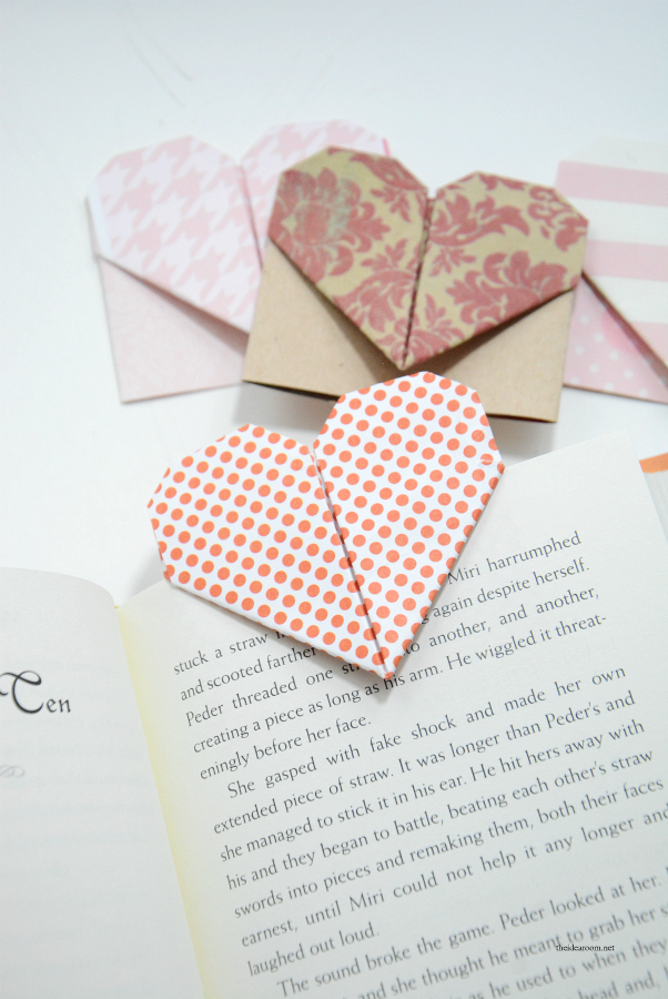 origami heart valentine bookmarks  the idea room