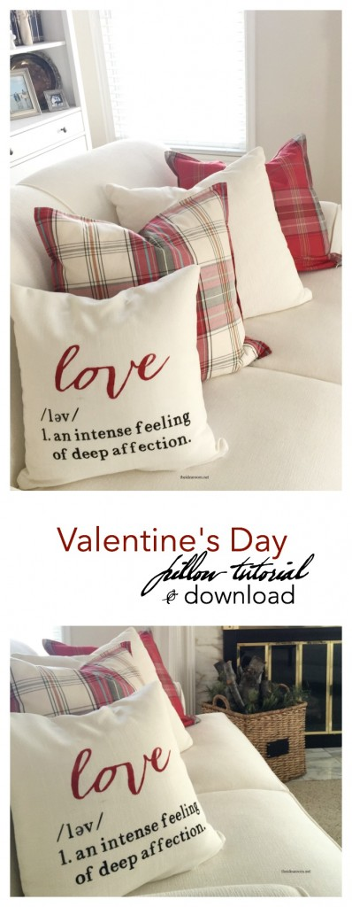 Valentine's Day | Learn how to make this 16 inch DIY Valentine's Day Pillow with this step by step tutorial. Free downloadable stencil so you can make one too.