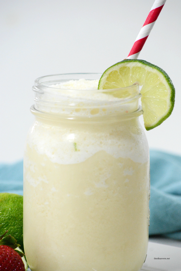 Drinks | This Frozen Brazilian Lemonade is the perfect drink for your next party or on a hot summer day. Uses fresh limes for a refreshing drink everyone will love.